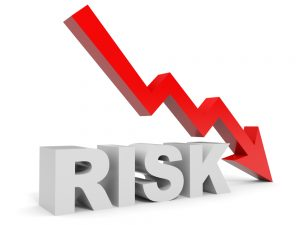 Graph down risk arrow. 3D illustration.